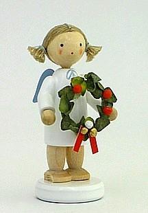 Engel mit Weihnachtskranz