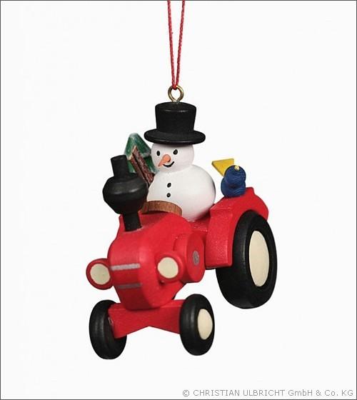 Traktor mit Schneemann - Baumbehang