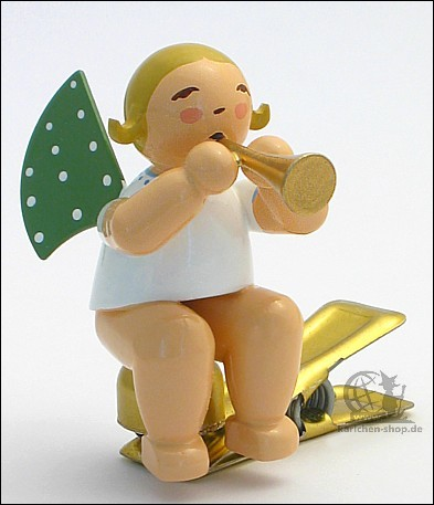 angel with small trumpet on clip