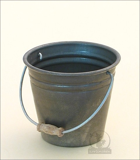 tin bucket with wooden handle