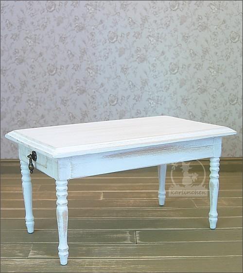 Tisch mit 2 Schubkästen, shabby/weiss