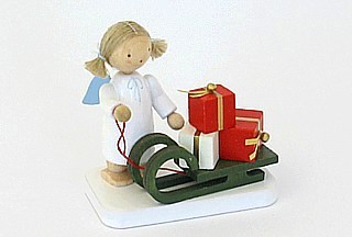 Engel mit Weihnachtsschlitten