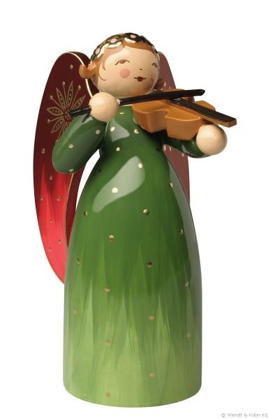 Engel reich bemalt, grün mit Violine / 8,5 cm