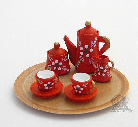 Coffee service red with flowers
