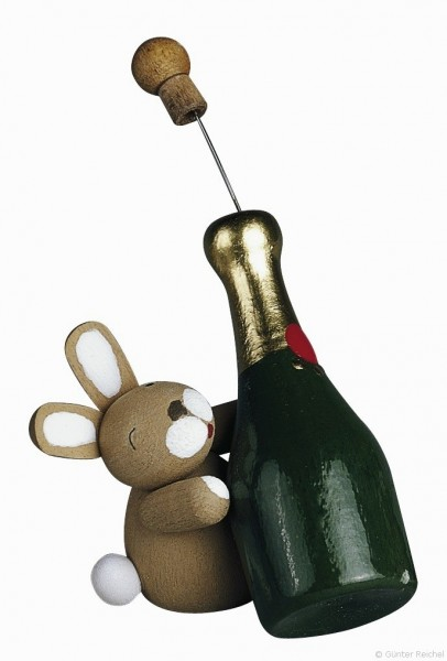 bunny with champagne bottle