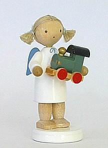 Engel mit Spielzeuglokomotive