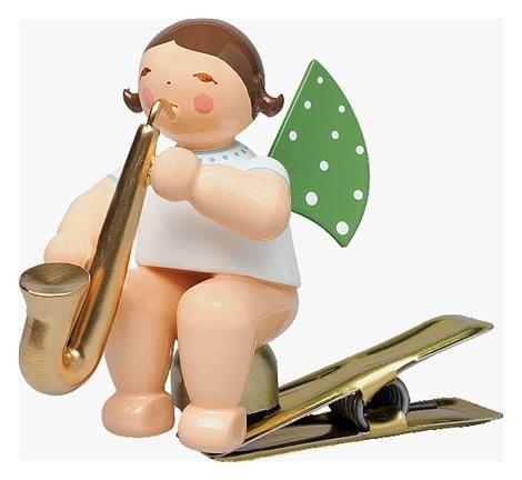 Engel auf Klemme mit Saxophon