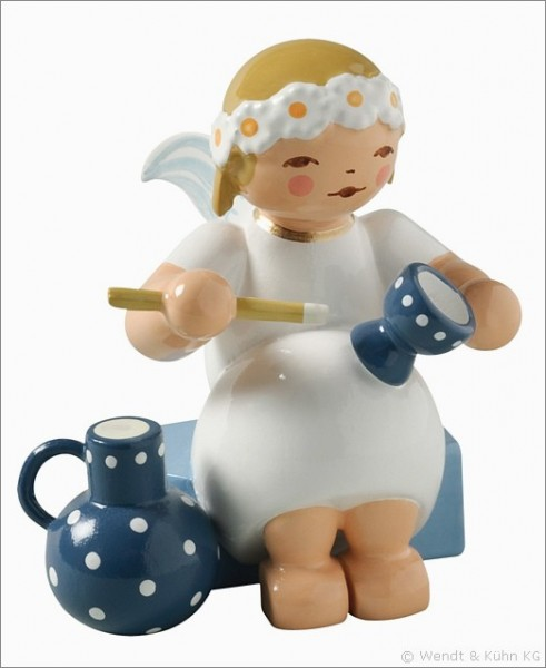 marguerite angel, sitting, with goblet and jug