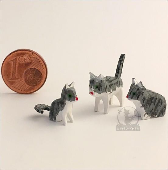 Cat family, gray / 3 pieces