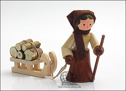 Holzsammlerin mit Schlitten