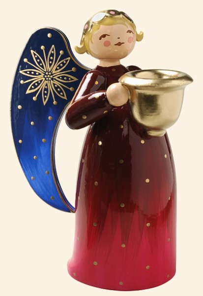 richly painted angel with candle holder