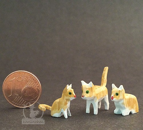 Cat family, yellow / 3 pieces