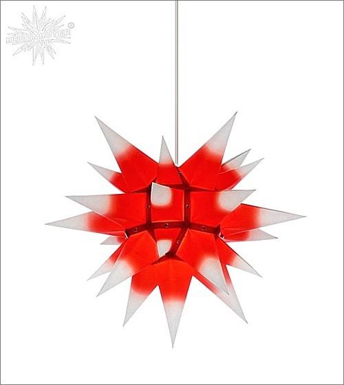 Herrnhuter® Papierstern für innen / weiss mit rotem Kern