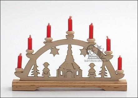 Schwibbogen Seiffener Kirche mit Wachskerzen / 7 cm