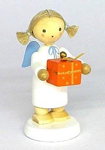 Engel mit Weihnachtspäckchen, orange