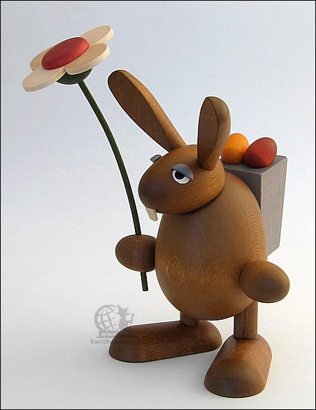 Easter Bunny with flower, standing