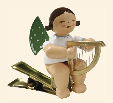 Engel auf Klemme mit kleiner Harfe / 2020 letztmalig im Sortiment