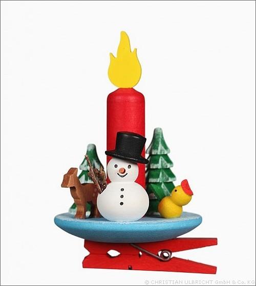 Kerze mit Schneemann auf Klammer