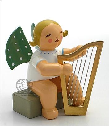 angel with harp, sitting