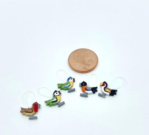 5 Miniaturvögel zum Anhängen