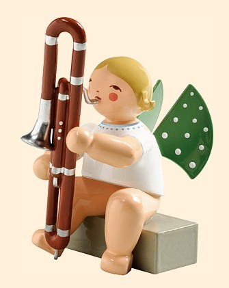 angel with contrabassoon, sitting