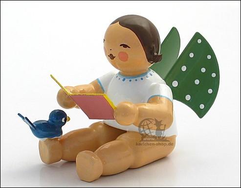 Engel mit Liederbuch und Vogel