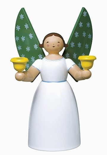 angel holding candles, white / 18 cm