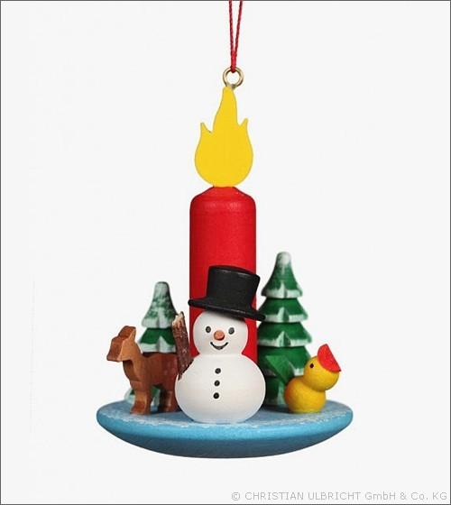 Kerze mit Schneemann - Baumbehang