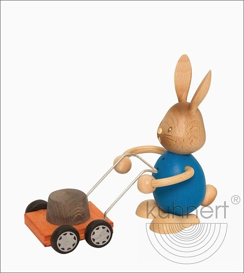 Bunny Stupsi with lawn mower