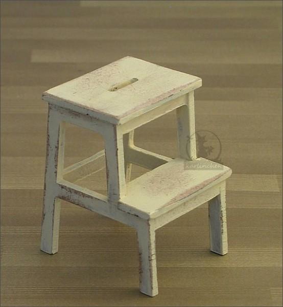 stepping stool, shabby/cream