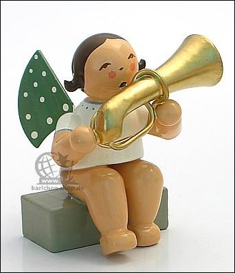 angel with tuba, sitting