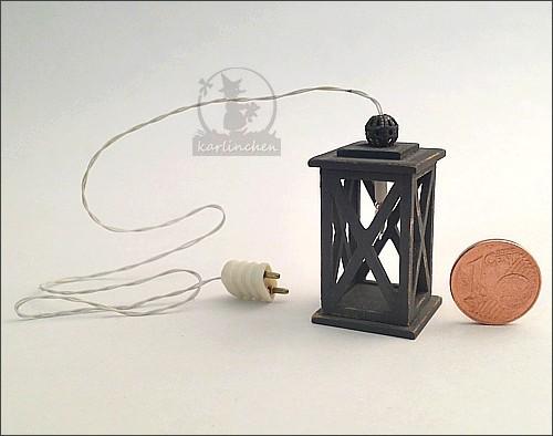 Electric lantern, shabby/gray - 12 V
