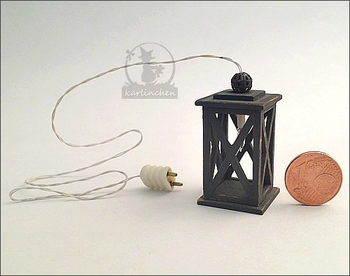 Laterne elektrisch, shabby/grau - 12 V