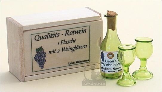 Kiste mit Weinflasche und 2 Gläsern