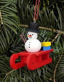 Schlitten mit Schneemann - Baumbehang