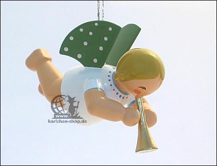 Engel mit Flöte, schwebend