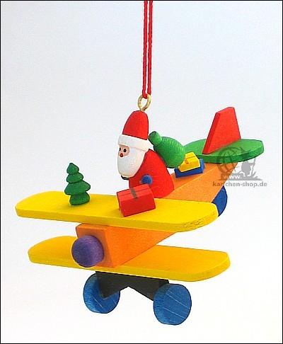 Weihnachtsmann auf Flieger - Baumbehang