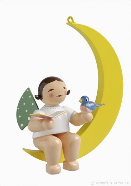 Angel with Songbook and Bird in Moon