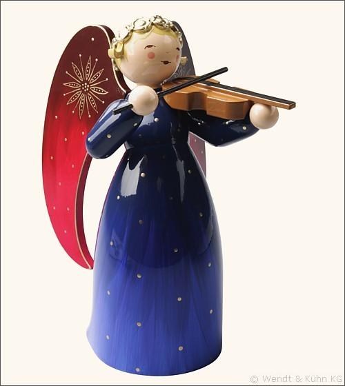 Engel mit Violine, blau / 17 cm