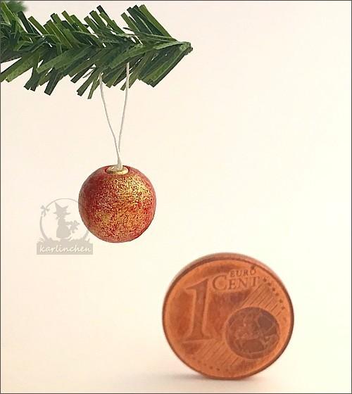 Weihnachtskugel, marmoriert / rot