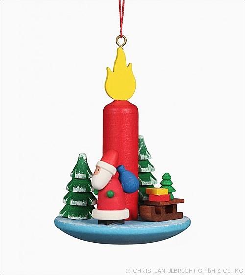 Kerze mit Weihnachtsmann - Baumbehang