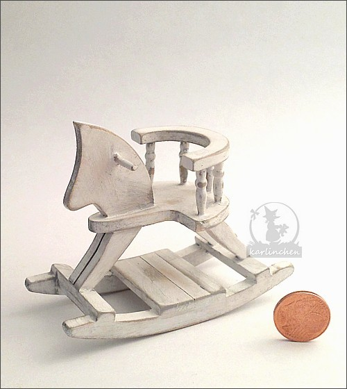 rocking horse, shabby/white