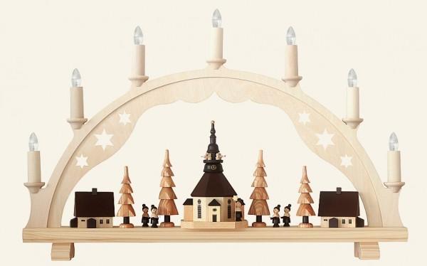 Schwibbogen Seiffener Kirche mit Kurrende, elektrisch / 53 cm