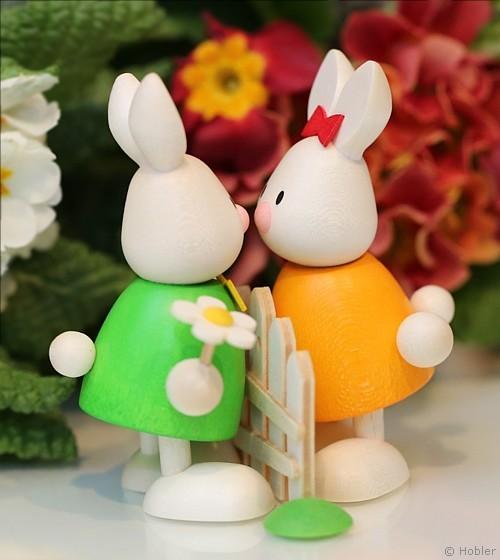Kaninchen Max und Emma am Gartenzaun