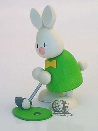 Kaninchen Max beim Golf - Einlochen