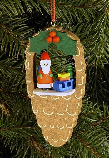 Zapfen mit Weihnachtsmann/Schlitten - Baumbehang