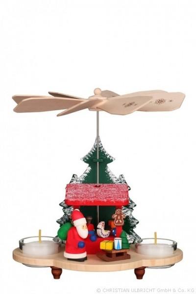 Pyramide Weihnachtsmann auf Striezelmarkt, farbig