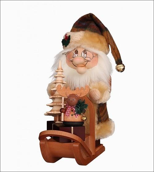 Weihnachtsmann Wichtel mit Schlitten - Räuchermann