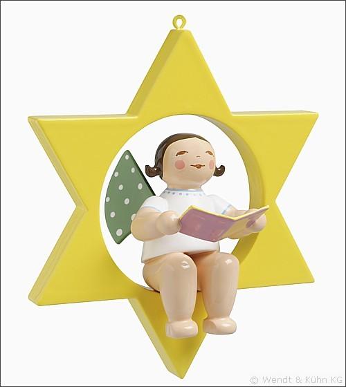 Engel mit Liederbuch im Stern / klein