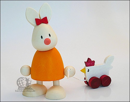 Kaninchen Emma mit Huhn